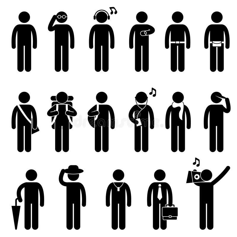 Pittogramma maschio di disegno di usura di modo dell'uomo della gente illustrazione di stock