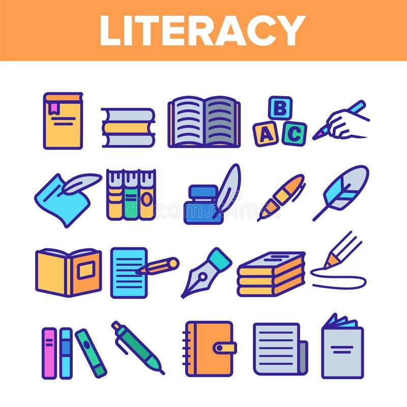 Pittogramma sottile dell'insieme delle icone di vettore lineare di alfabetizzazione illustrazione vettoriale