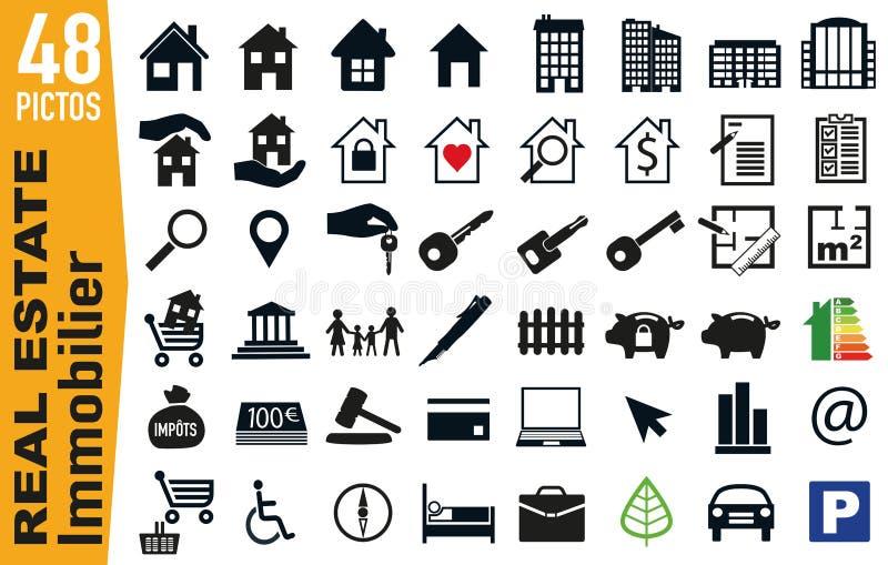 Pittogrammi del contrassegno per il settore del bene immobile e di abitazione illustrazione di stock