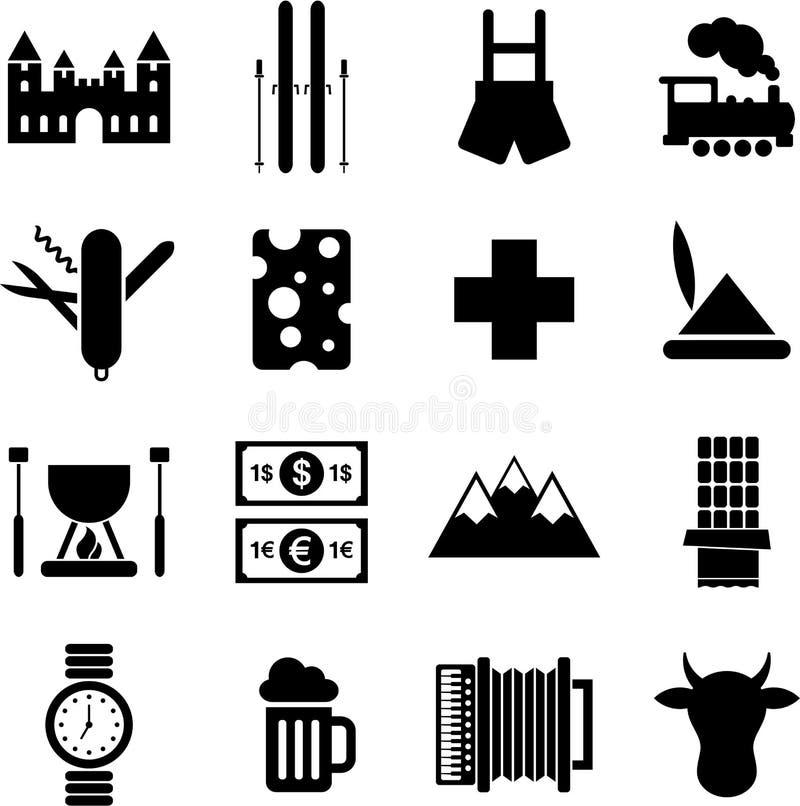 Pittogrammi della Svizzera illustrazione di stock