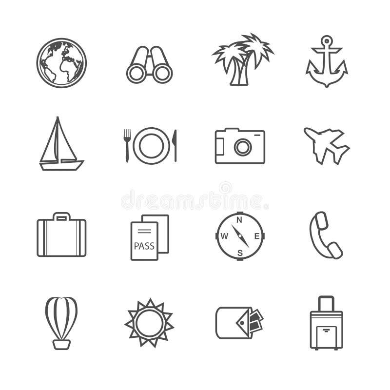 Pittogrammi di svago di vacanza messi royalty illustrazione gratis