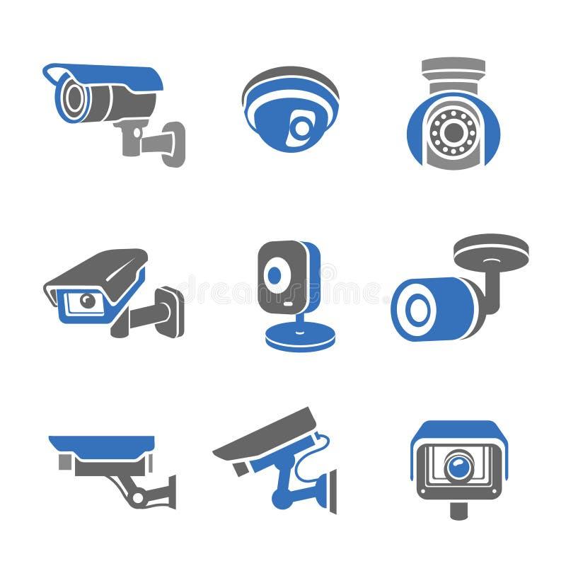 Pittogrammi ed icone delle videocamere di sicurezza di videosorveglianza illustrazione di stock