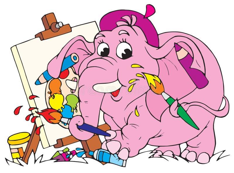Pittore dell'elefante (vettore) illustrazione vettoriale