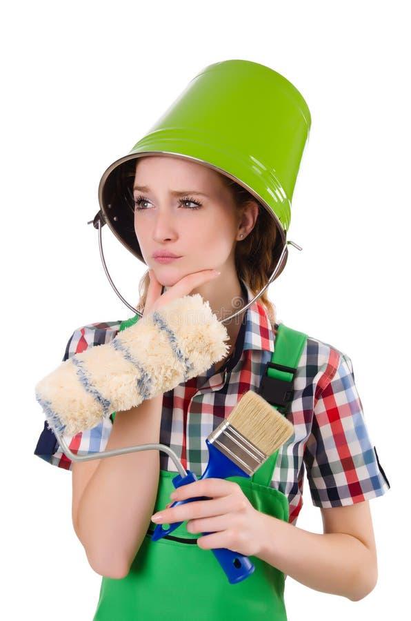 Pittore divertente della donna nel concetto della costruzione isolato immagini stock libere da diritti