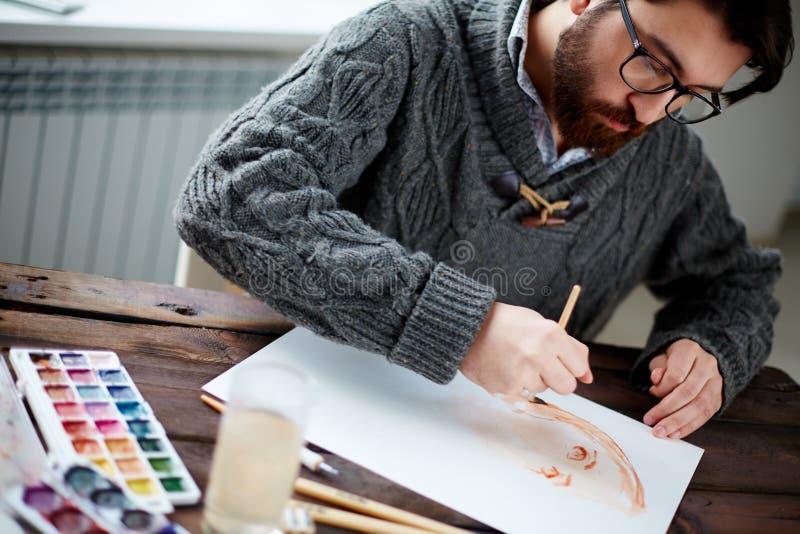 Pittore lavorante fotografia stock libera da diritti