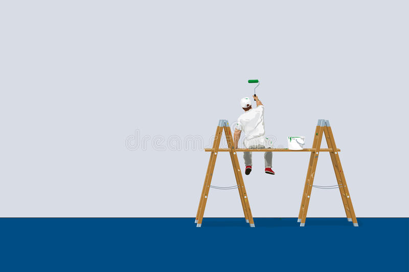 Pittore sulle scalette illustrazione vettoriale
