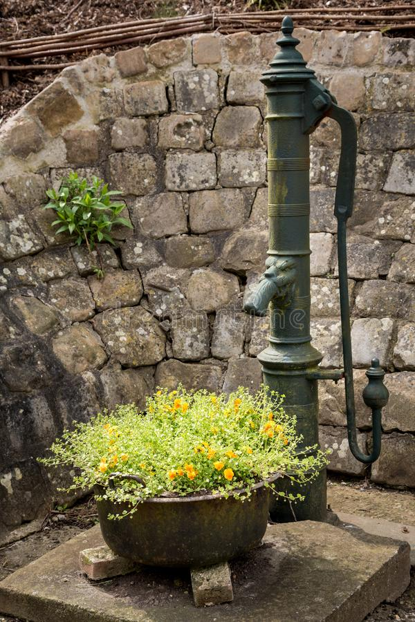 Pittoresk gammal vattenpump i lantlig Lyon La Foret, Normandie, Fra royaltyfri foto