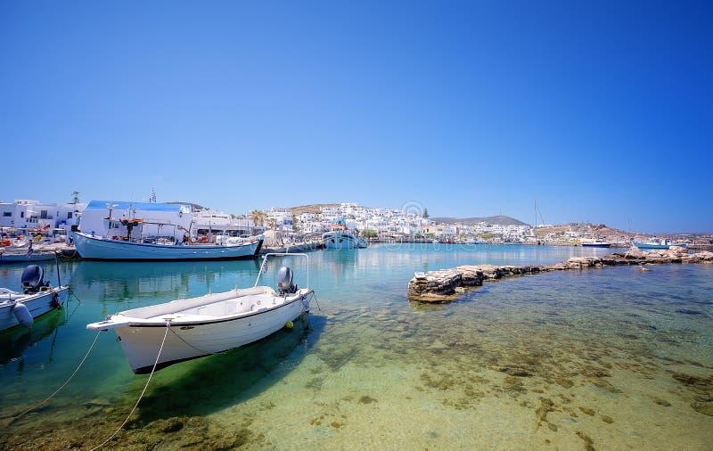 Pittoresk Naousa by, Paros ?, Cyclades, Grekland arkivfoton