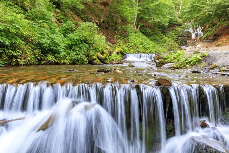 Pittoresk och härlig kaskadvattenfall av en bergflod i Carpathiansna royaltyfri bild