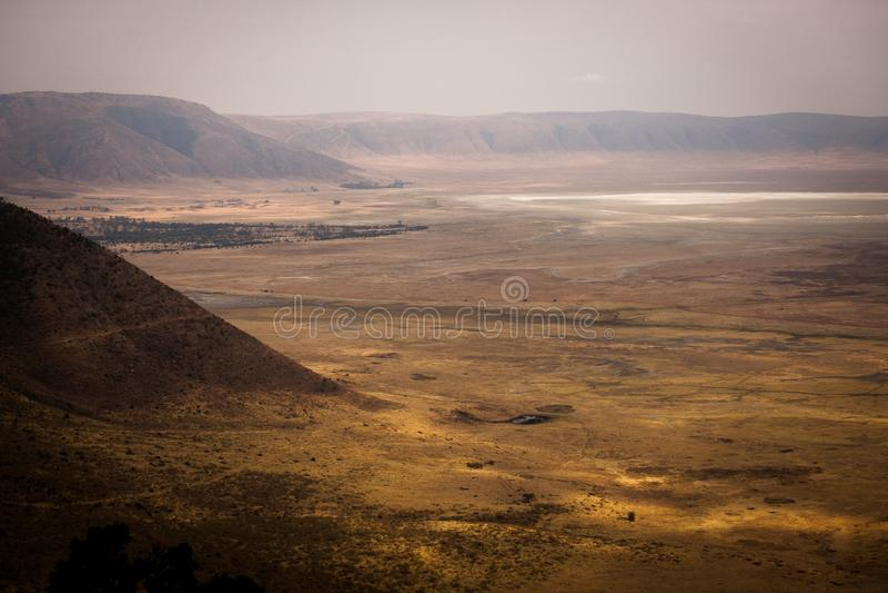 Pittoresk sikt till den Ngorongoro nationalparken arkivfoton