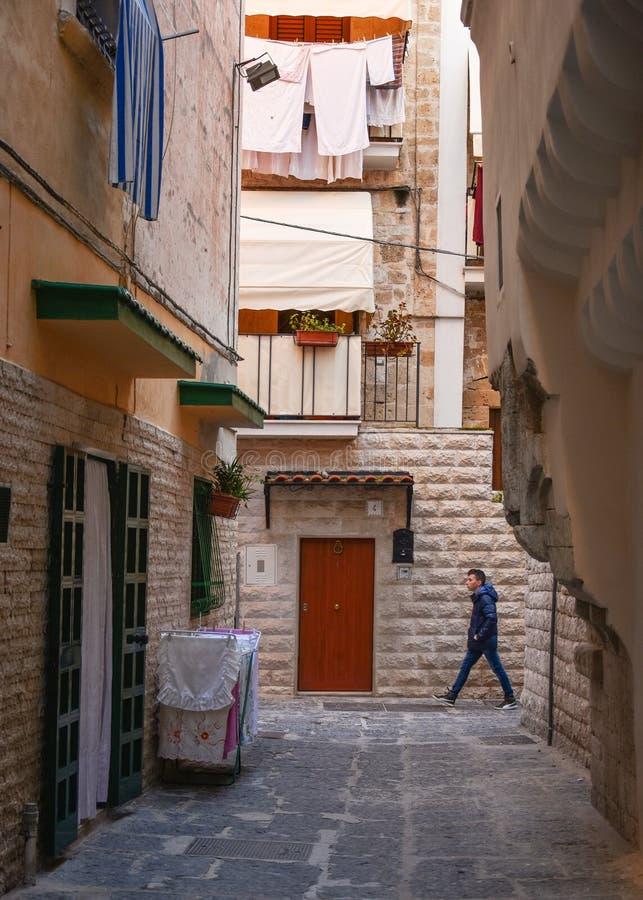 Pittoresk smal gata i den gamla staden av Bari royaltyfria foton