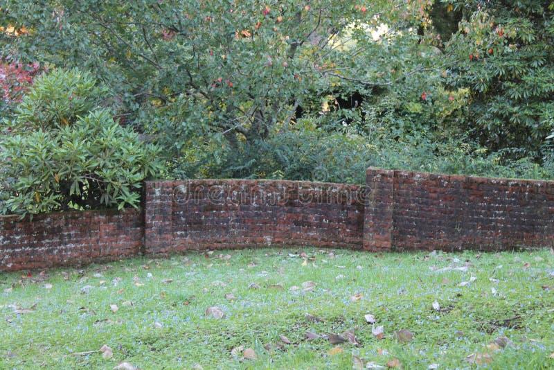 Pittoresk tegelstenträdgårdvägg fotografering för bildbyråer