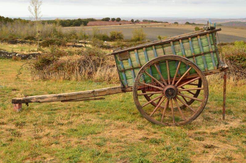 Pittoresk vagn av oxar som är borttappade från Manolo In Becerril Landskaptrans.lopp arkivfoton