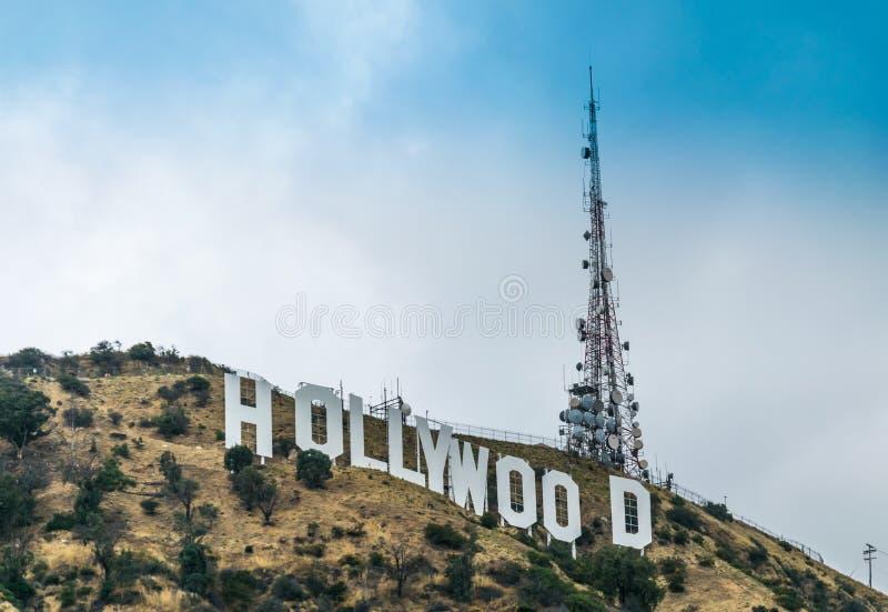 Pittoreska Hollywood Hills Berömd turist- dragning av Los Angeles, Kalifornien, USA royaltyfria foton