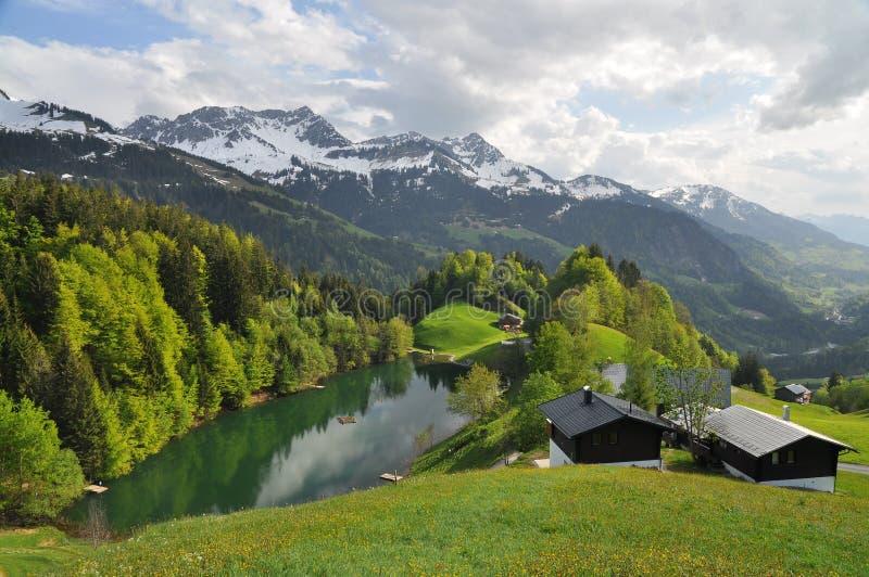 Pittoreskt alpint landskap i vår arkivbild