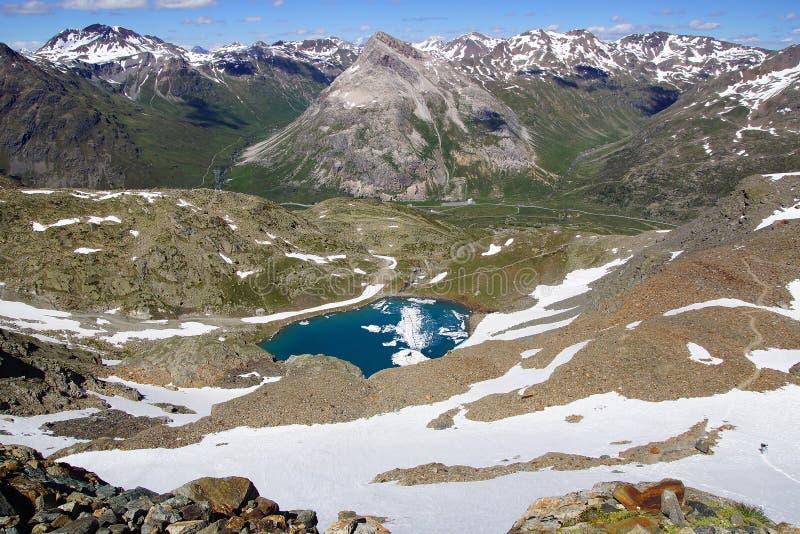Pittoreskt naturlandskap med sjön arkivfoton