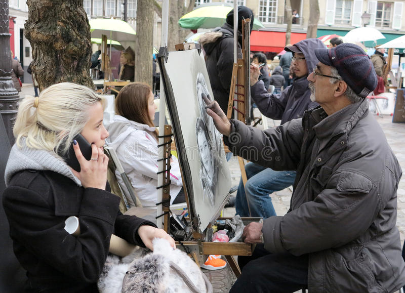 Place du Tertre Parigi immagine stock libera da diritti