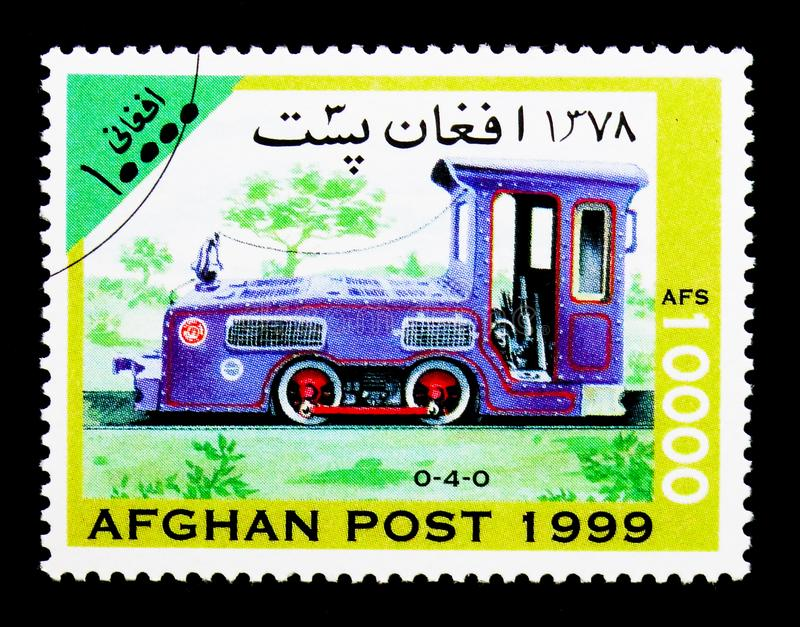 Pittsburg Limestone Co. 0-4-0 diesel locomotive, Locomotives serie, circa 1999. MOSCOW, RUSSIA - DECEMBER 21, 2017: A stamp printed in Afghanistan shows royalty free stock image
