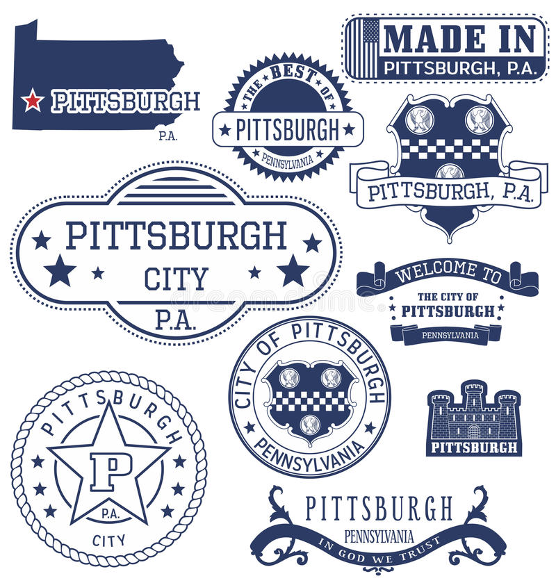 Pittsburgh city, PA, generic stamps and signs stock illustration