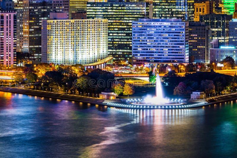 Pittsburgh, cityscape van Pennsylvania met het Park van de Puntstaat stock foto