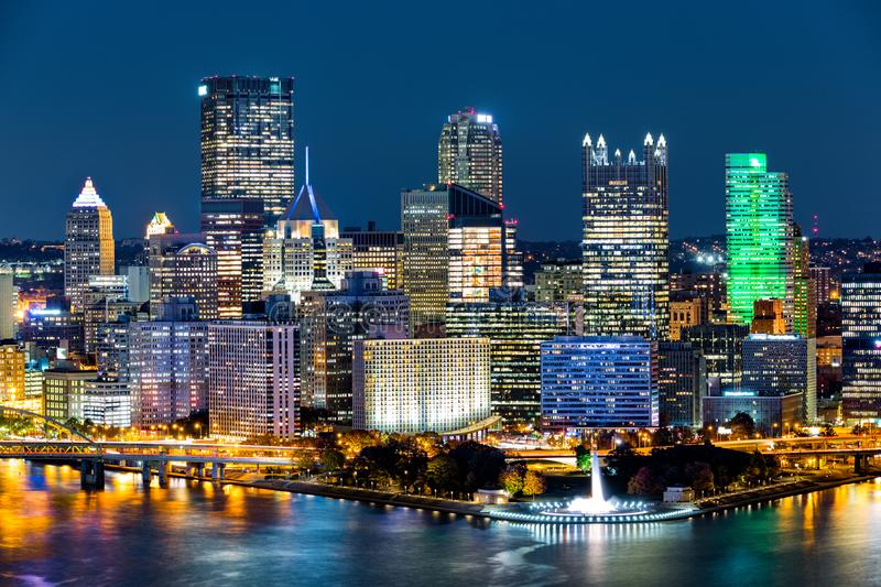 Pittsburgh downtown skyline by night. Located at the confluence of the Allegheny, Monongahela and Ohio rivers, Pittsburgh is also known as `Steel City`, for royalty free stock photography