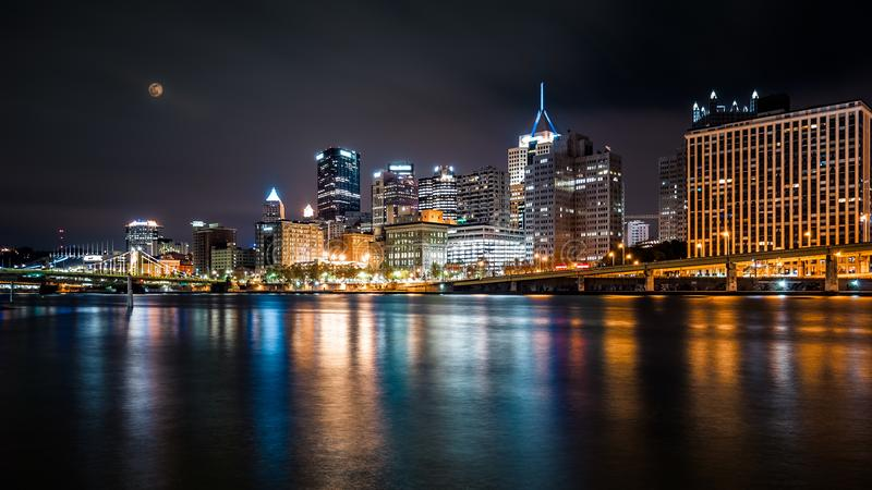 Pittsburgh downtown skyline by night. Viewed from North Shore Riverfront Park across Allegheny River royalty free stock images