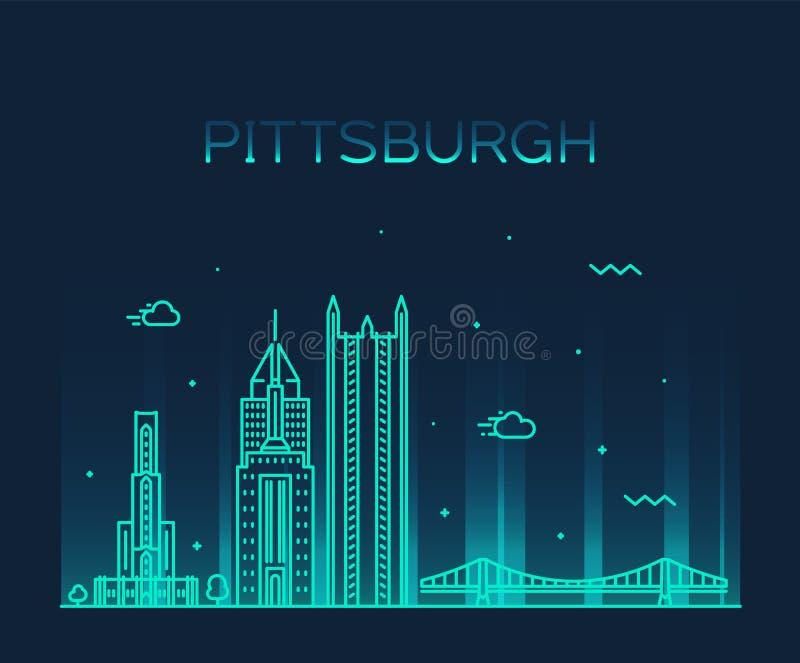 Pittsburgh en horisontvektorPennsylvania USA linje stock illustrationer