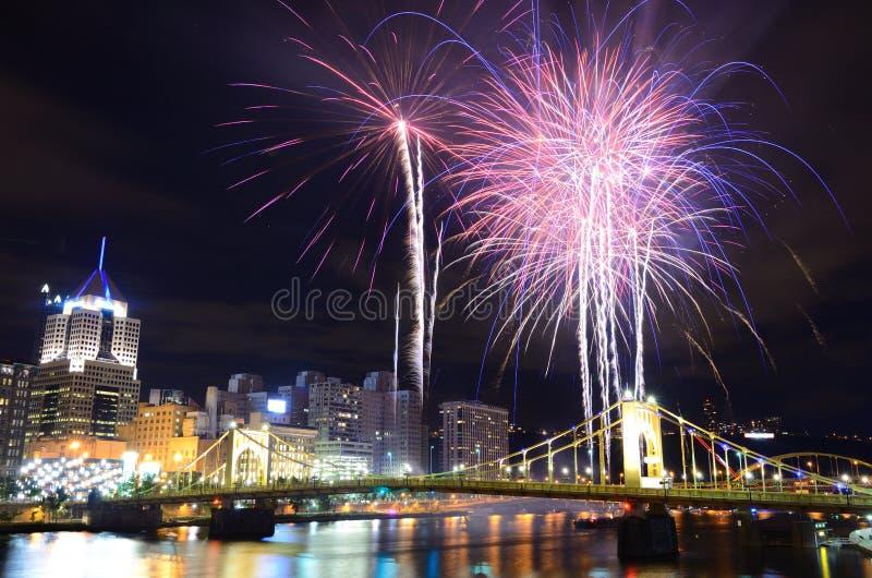 Pittsburgh Fajerwerki zdjęcia royalty free
