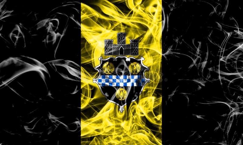 Pittsburgh miasta dymu flaga, Pennsylwania stan, Stany Zjednoczone obraz royalty free