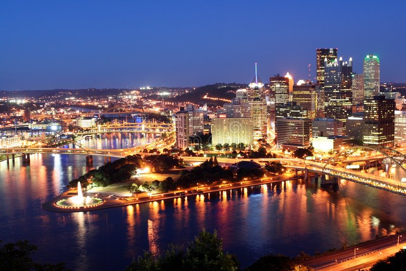 Download Pittsburgh by night stock image. Image of scene, pennsylvania - 4078151