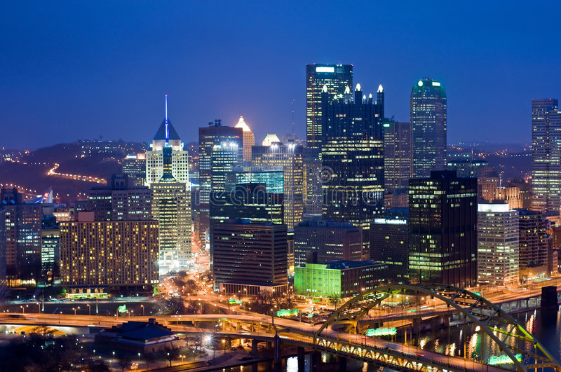 Pittsburgh at night. A view overlooking downtown Pittsburgh, Pennsylvania, at night stock photography