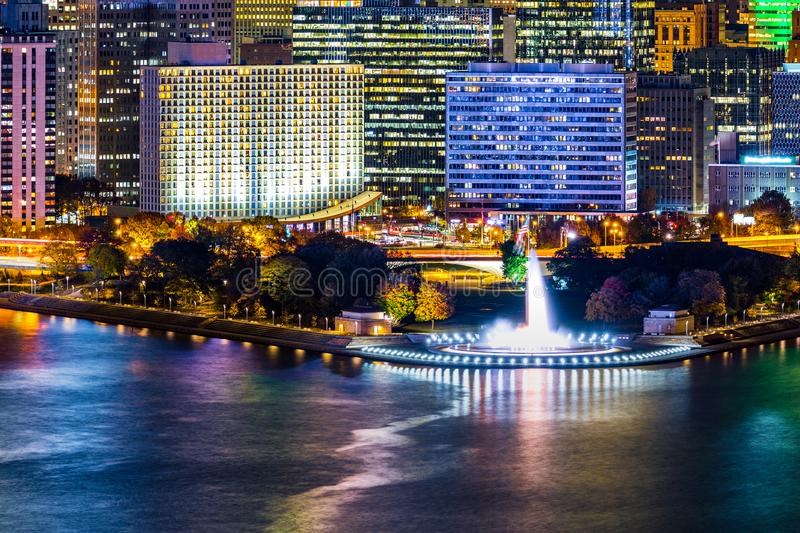 Pittsburgh, Pennsylvania cityscape with Point State Park. Pittsburgh, Pennsylvania cityscape with the iconic illuminated water fountain landmark from Point State stock photo
