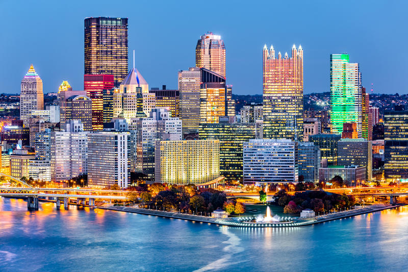 Pittsburgh, Pennsylvania downtown skyline at dusk. Located at the confluence of the Allegheny, Monongahela and Ohio rivers, Pittsburgh is also known as `Steel royalty free stock images