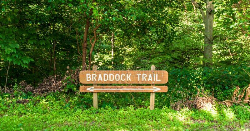 Pittsburgh, Pennsylvania, los E.E.U.U. 7/25/2019 de Braddock de la muestra del rastro que lleva en el parque de Frick fotos de archivo libres de regalías