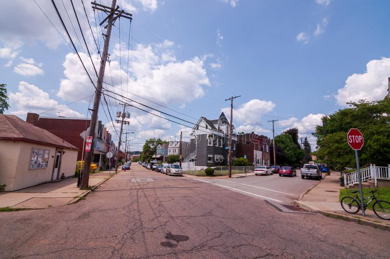 Pittsburgh, Pennsylvania, los E.E.U.U. 7/25/2019 de la intersección de las calles de Dawson y de Fraizer en la vecindad del sur d fotografía de archivo