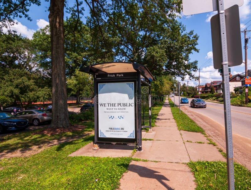 Pittsburgh, Pennsylvania, los E.E.U.U. 7/25/2019 del condado de Allegheny Port Authority de un cobertizo en la avenida del sur de fotografía de archivo libre de regalías