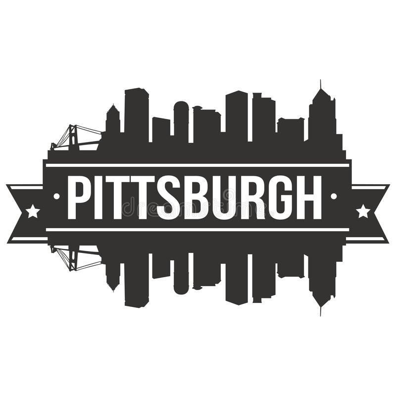 Pittsburgh Pennsylvania United States Of America USA Icon Vector Art Design Skyline Flat City Silhouette Editable Template royalty free illustration
