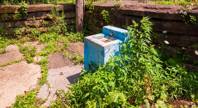 Pittsburgh, Pennsylvania, USA 7/25/2019 A City of Pittsburgh maintained water fountain that has be abandoned by the city in Frick stock photography