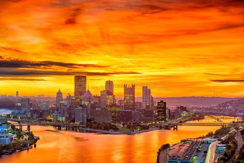 Pittsburgh Pennsylvania, USA horisont arkivfoto