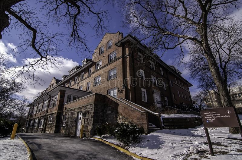 Pittsburgh, Pennsylvania, USA 03/05/2019 Woodland Hall dorm on the campus of Chatam University in winter. With the Jennie King Mellon Library behind it stock photography