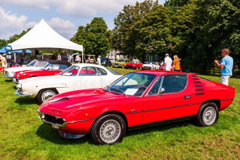 Pittsburgh, Pennsylwania, usa Pittsburgh 7/21/2019 rocznika Gran Prix, kilka Alfa Romeo samochody uszeregowywający obraz stock