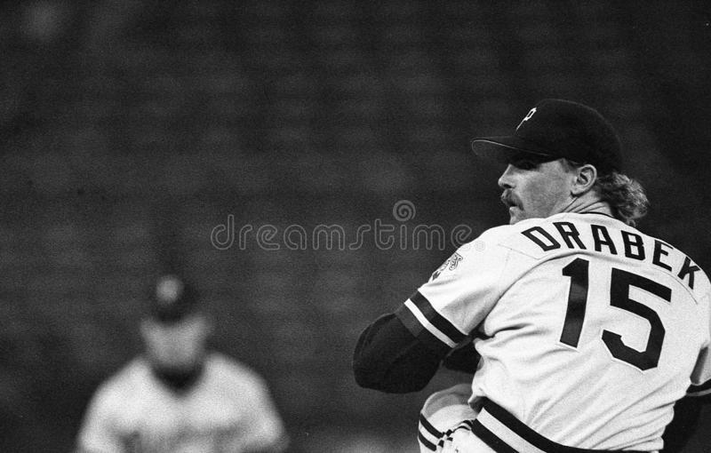 Pittsburgh Pirates Starting Pitcher Doug Drabek. Pittsburgh Pirates ace Doug Drabek pitching against the San Francisco Giants. Image taken from a b&w negative stock image