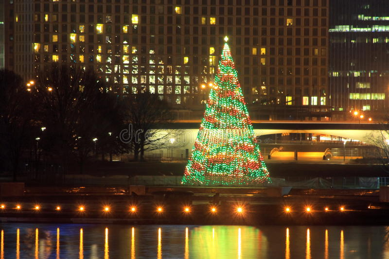 Pittsburgh point state park Christmas Tree2 stock photography