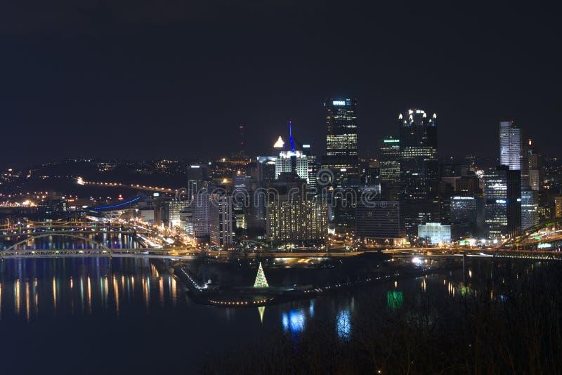 Pittsburgh przy nocą fotografia royalty free