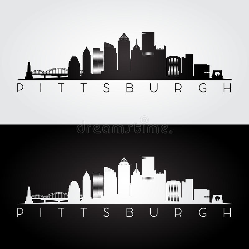 Pittsburgh skyline silhouette royalty free illustration