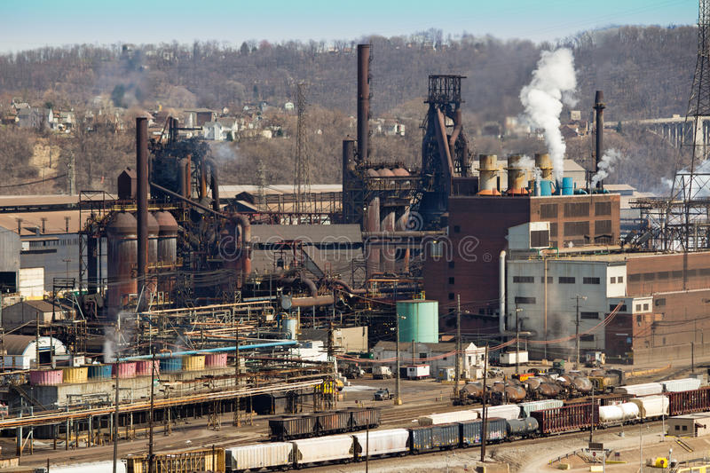Pittsburgh Steel Mill Close. Blast Furnace and Other Facilities on the Monongahela River in Pittsburgh Pennsylvania royalty free stock photography
