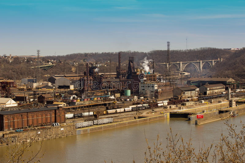Pittsburgh Steel Mill Far. Blast Furnace and Other Facilities on the Monongahela River in Pittsburgh Pennsylvania stock images
