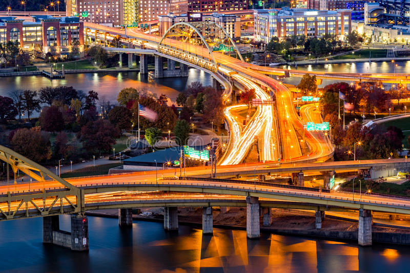 Pittsburgh traffic trails royalty free stock images