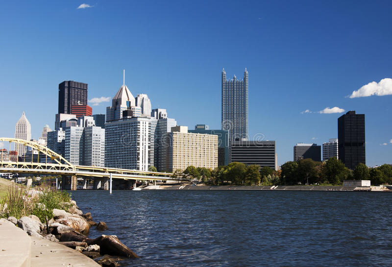Pittsburgh usa. Pittsburgh with the river in the forground royalty free stock image