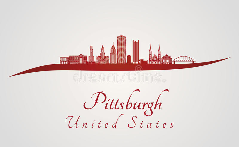 Pittsburgh V2 horisont i rött royaltyfri illustrationer